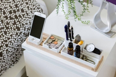 organized bedside table
