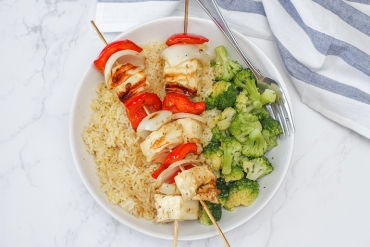 Grilled Halloumi Skewers on rice.