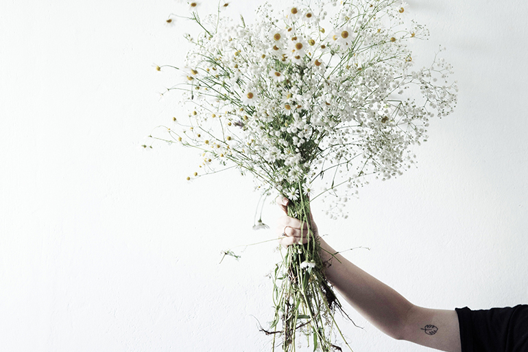 A person wearing all black holding a bundle of white baby's breath on a white background.