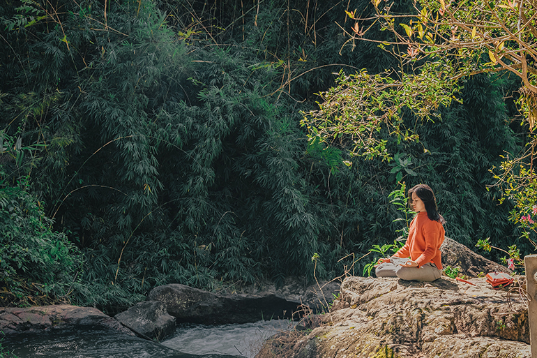A person meditating on the side of a hill in a forest.