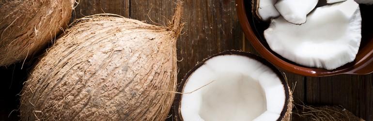 Coconut sliced in half.