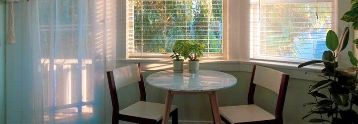 Some indoor plants are near a window-sill in a white and brown decorated dining area but are still covered in shade.