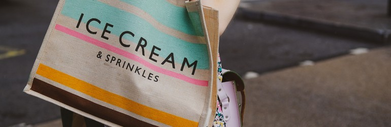 A resuable shopping bag that says 'Ice Cream & Sprinkles