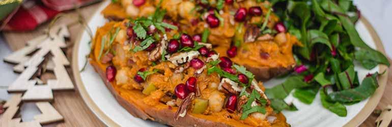 Pecan & Chickpea Stuffed Sweet Potatoes.