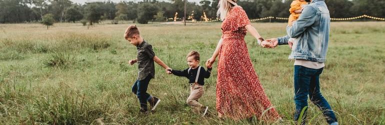 Family in a field.