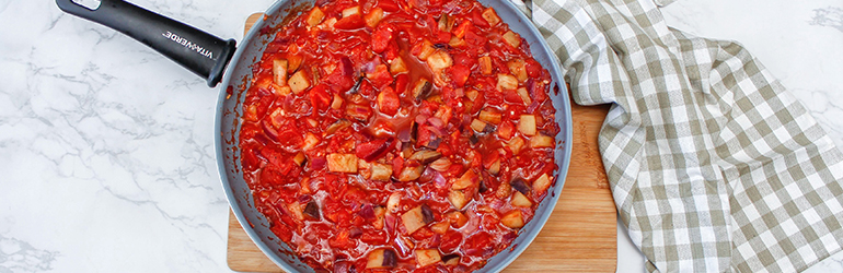 A homemade tomato pasta sauce in a skillet.