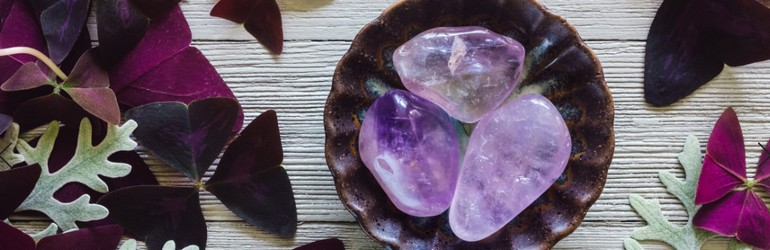 A bowl of amethyst crystals on some leaves.