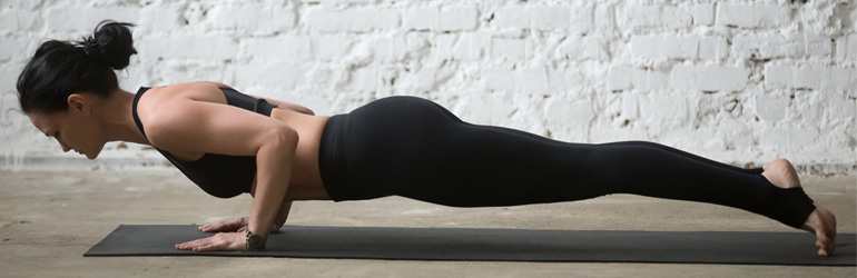 Chaturanga yoga pose.