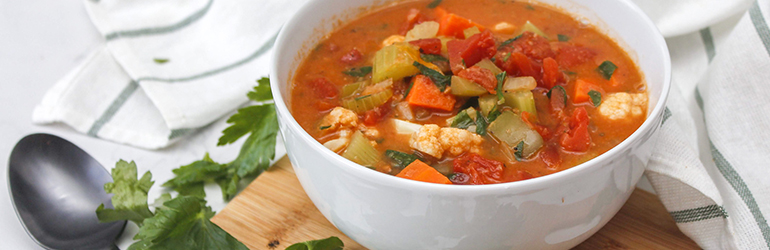 Vegetable soup in a bowl.