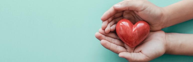 tangan yang memegang hati merah