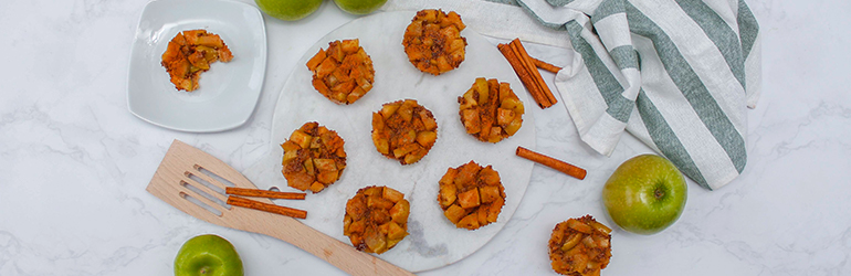 A top down view of the no bake apple pies.