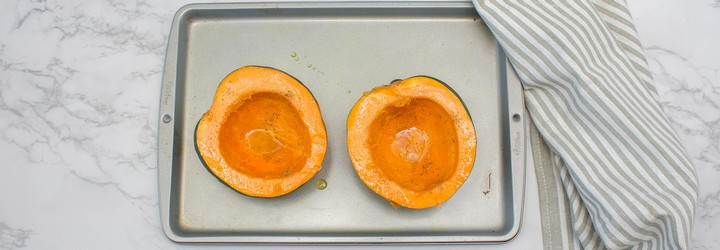 Hollowed our squash on a tray.