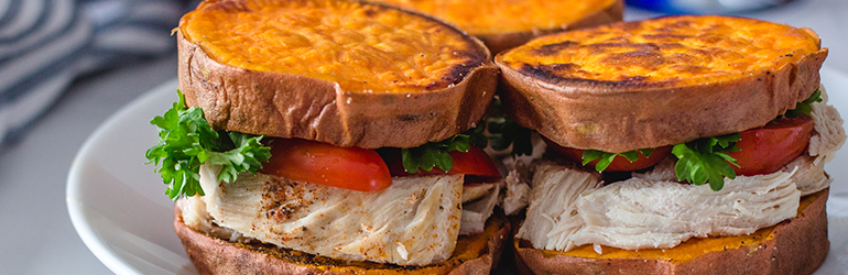 Sweet potato Chicken paleo sandwich recipe.