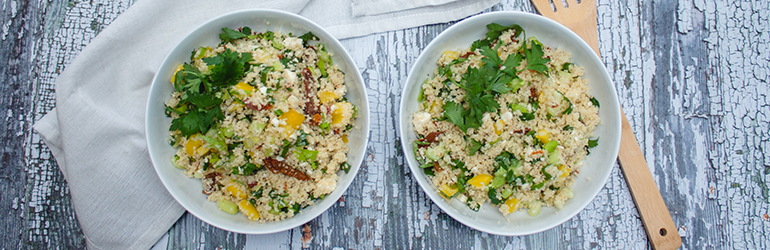 Spinach and Sun-dried Tomato Couscous.