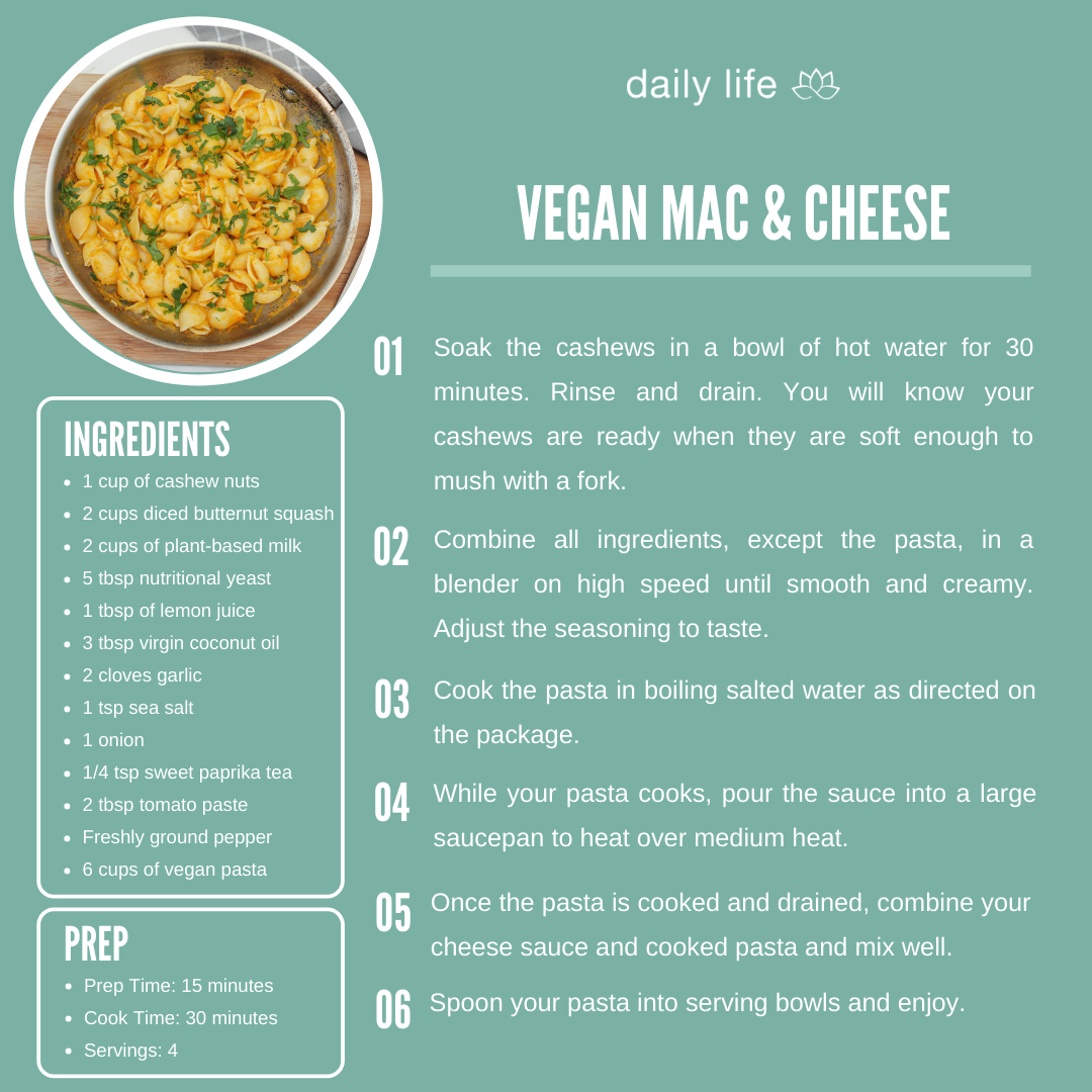 A recipe card for Vegan Mac & Cheese from Daily Life.