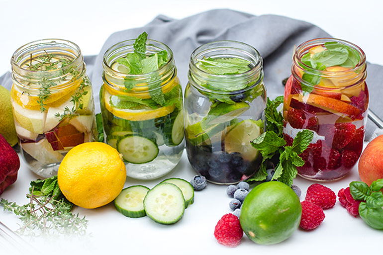 fruits vegetables and herb infused water blends